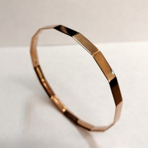 1920s 9ct Rose Gold Solid Faceted 'Flapper' Bangle
