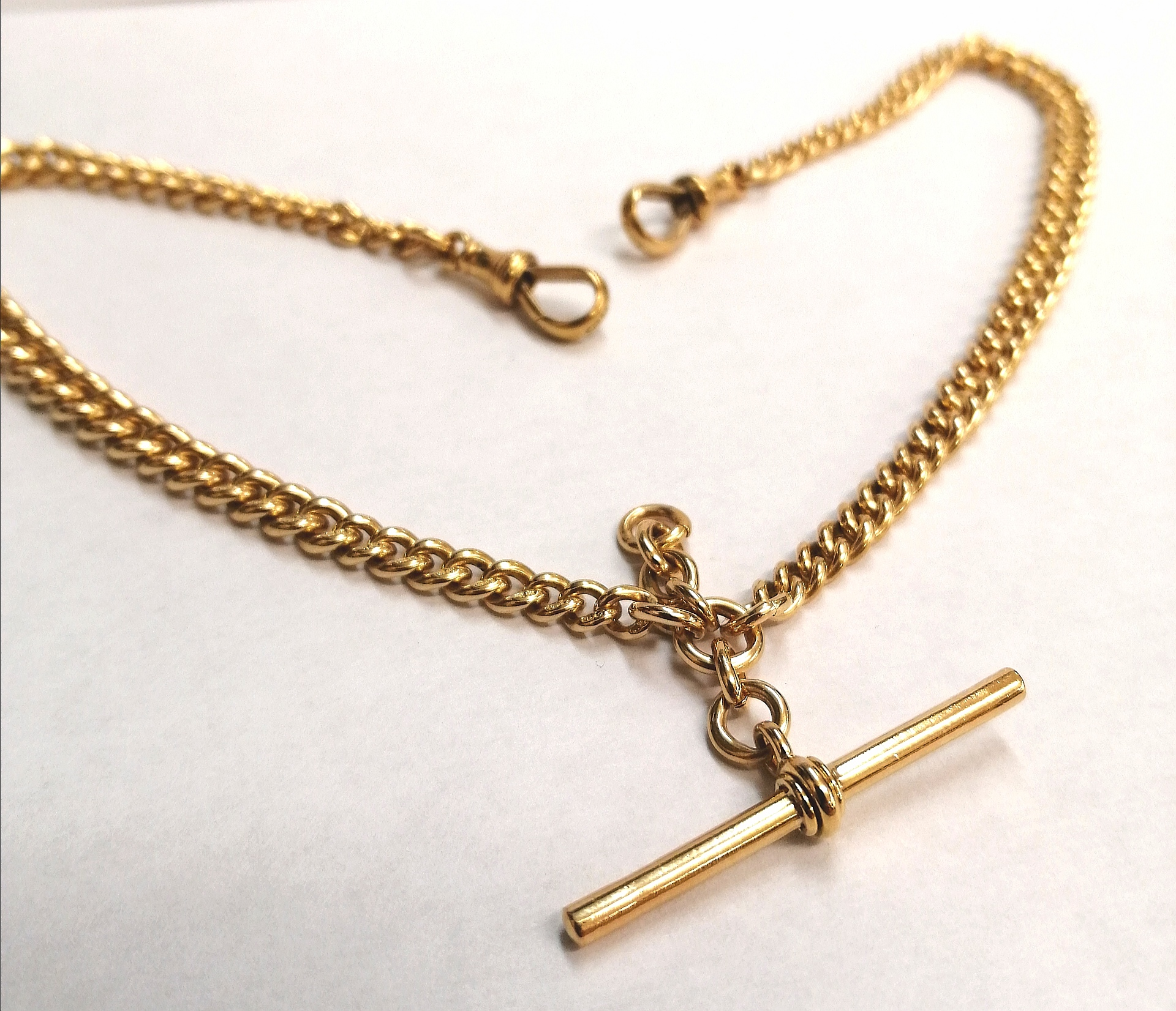 Edwardian 18ct Gold Graduated Curb Link Albert Chain