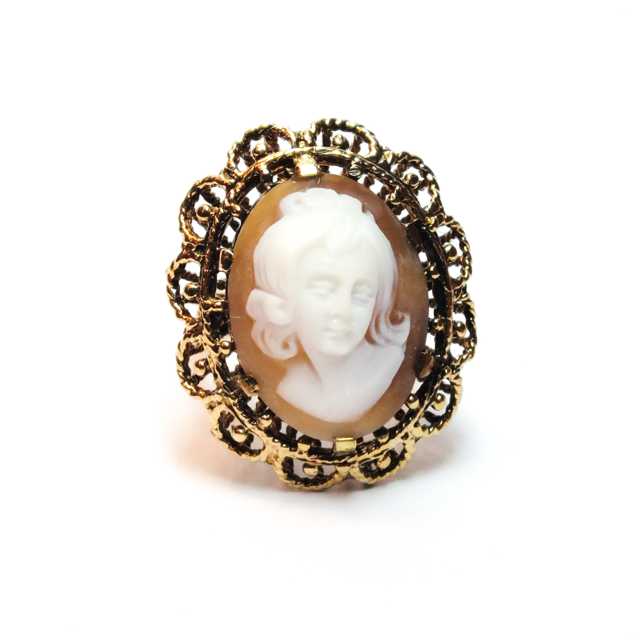 9ct Gold 1970s Cameo Dress Ring