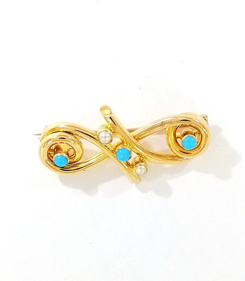 Victorian 15ct Gold Turquoise & Pearl Brooch
