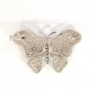 18ct White Gold Diamond Butterfly Brooch