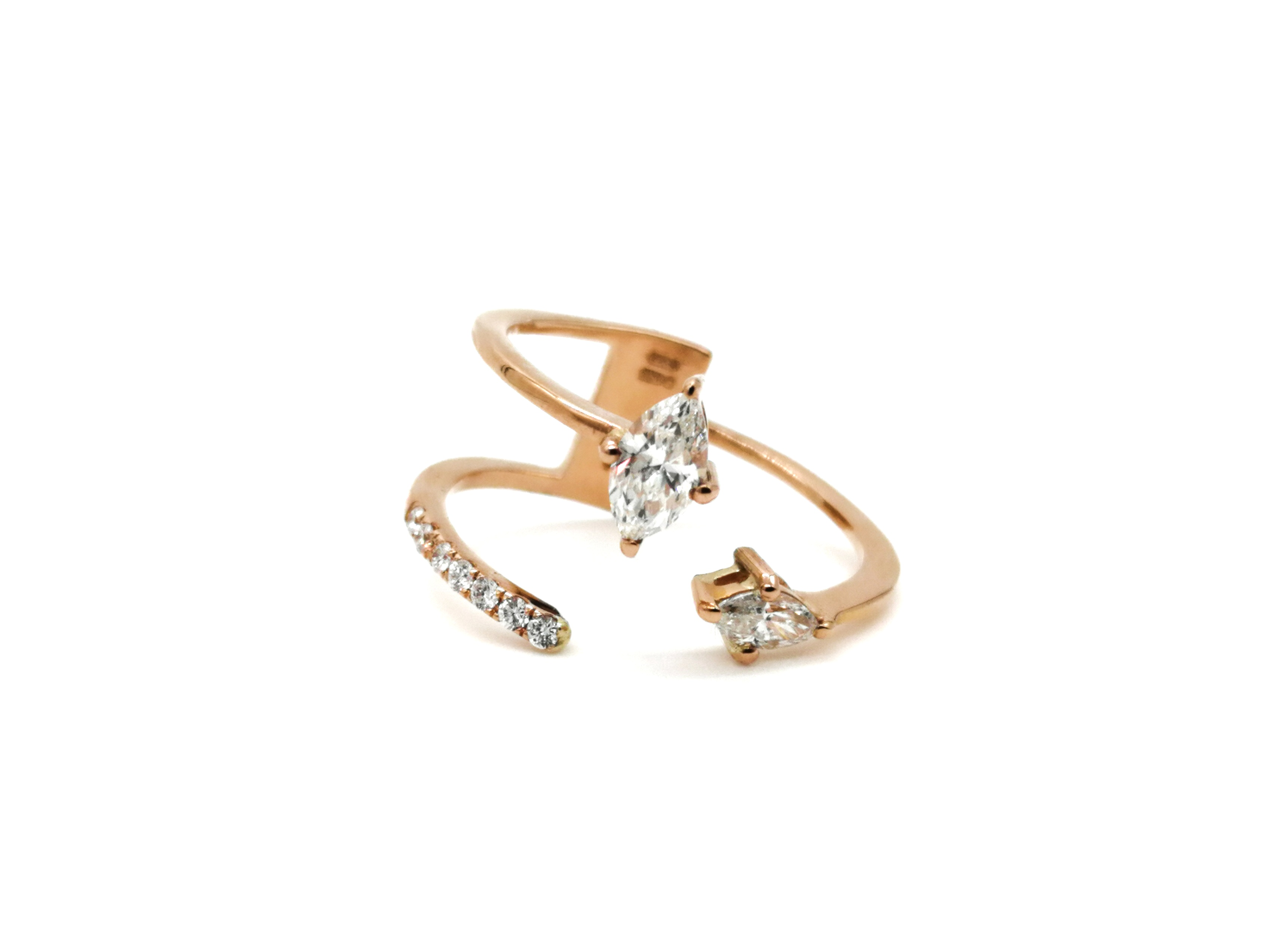 18ct Rose Gold Nivette and Round Diamond Ring