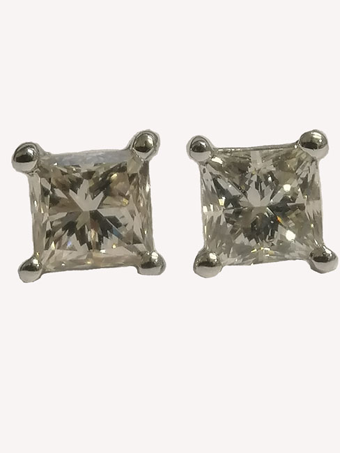 Princess Cut Diamond Ear Studs 1.09ct