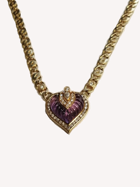 18ct Gold Amethyst & Diamond Heart Necklace